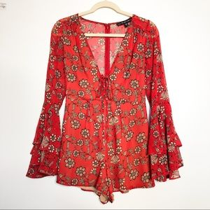 For Love and Lemons Floral Bell Sleeve Red Romper